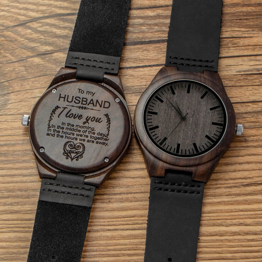 engraved wooden, men, groomsmen watch for husband son natural ebony customized wood watch birthday anniversary gift